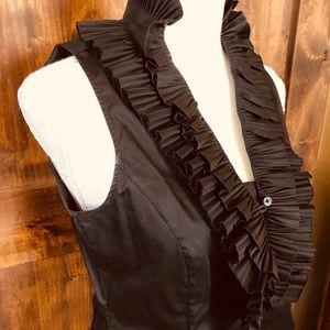 Beautiful WHBM Black Ruffle Sleeveless Shirt